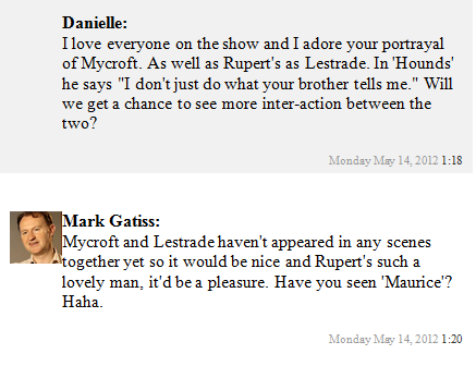 sashkash:  loverdosis:  - Live Chat Gatiss ships Mystrade.  WHAT ARE YOU IMPLYING, MARK  tell me more…