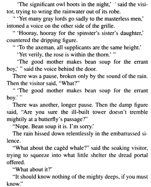 One of my favorite scenes from Terry Pratchett's Guards Guards.