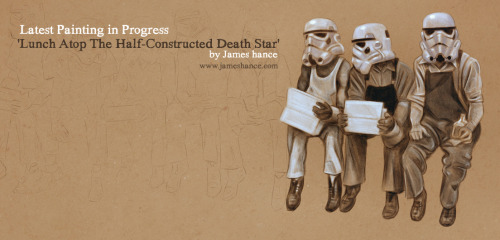 Latest Painting in Progress: 'Lunch Atop The Half-Constructed Death Star' (Digital)Revisiting one of my earlier paintings - had a lot of requests for this one :) x