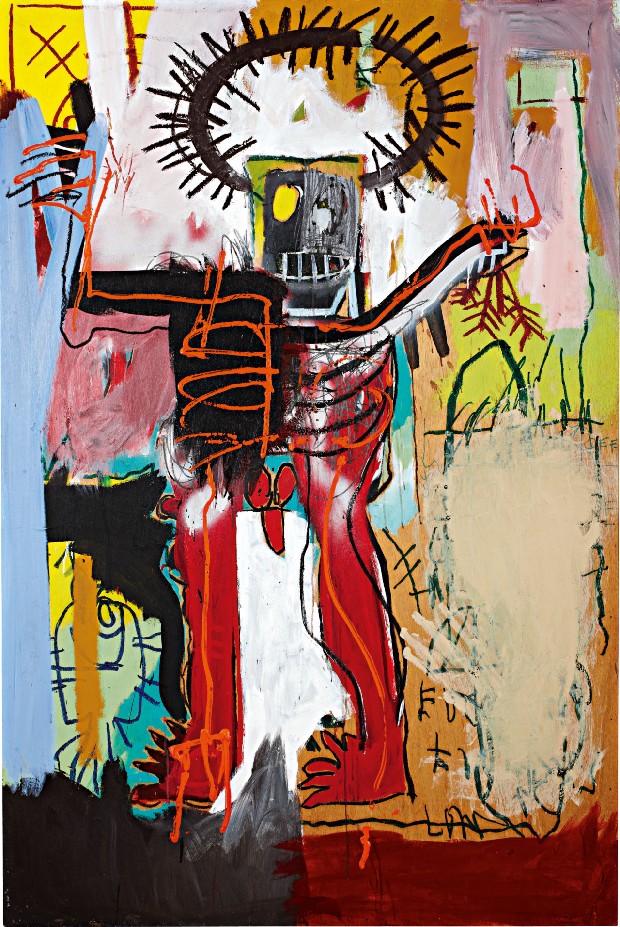 "JEAN-MICHEL BASQUIAT | Untitled, 1981 | acrylic, oilstick, and spray paint on wood  Sold for $16,322,500 at the Contemporary Art Evening Sale, 10 May 2012, New York, achieving an auction record for the artist. [Video]  Basquiat's great strength is his ability to merge his absorption of imagery from the streets, the newspapers, and TV with the spiritualism of his Haitian heritage, injecting both into a marvelously intuitive understanding of the language of modern painting. (Jeffrey Deitch, ""Jean-Michel Basquiat: Annina Nosei,"" Flash Art, 16, May 1982, p. 50).  It would be insufficient to discuss Jean-Michel Basquiat's radical art without touching upon the biographical and ideological forces that gave rise to his work. As a product of two national identities, Haitian and Puerto Rican, Basquiat was instilled with the nuances of cultural differentiation early on in his life. And, living a biracial childhood in Brooklyn, he was exposed to both the difficulty of black struggle and the wealth of his diverse heritage. He harnessed these differences to a brilliant degree, establishing his fluency in French, English, and Spanish by age eleven. In addition, his fascination with knowledge created lasting obsessions, namely with human anatomy and skeletal structure inspired by a copy of Grey's Anatomy. Human anatomy would later become one of the trademark visual tropes in his oeuvre. Yet, perhaps most impressively, he employed his intellect toward self-improvement: his skills in drawing and painting were entirely self-taught, a remarkable marriage of observational discipline and extraordinary creativity.  Basquiat, at the youthful age of twenty-one, had already developed an utterly mature style, filled with a richness of history and biographical experience. Untitled, 1981 demonstrates both racial conflict and artistic virtuosity in decidedly religious tones, indicative of the lasting imprint of Basquiat's Catholic upbringing. The piece itself, in terms of medium, is typical of Basquiat's early career, where his unorthodox choices of materials are most heavily distributed. He employs a combination of acrylic, his most conventional medium, with the choice of paintstick, utilized for the sake of its fluidity in drawing. However, Basquiat's street-inspired practices make themselves evident with the use of spray paint, which figures prominently in Untitled, 1981. Finally, all of his methods of technique lie firmly on a board of wood, which bears the immense cultural significance of Basquiat's picture with sturdy resolve.  By actually including the human figure in his work (as opposed to American Abstract Expressionists), Basquiat subordinates the notion of abstraction to the expressive opportunities inherent in representation: ""His works appear to break down the dichotomy between the external and the internal, intuiting and revealing the innermost aspects of psychic life."" (F. Hoffman, ""The Defining Years: Notes on Five Key Works"", Basquiat, Edited by M. Mayer, New York, 2005, p. 131). Representation actually makes introspection a richer and more revelatory experience for Basquiat. It is true that the disintegration and reintegration of his figure may never be entirely complete, as we still observe rogue body parts in Untitled, 1981, namely a toe at the lower-left portion of the figure. However, we may presume that this allows Basquiat to take stock of himself metaphorically, discovering the depth of his fracture and incompleteness."