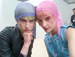 modelinia:  Girl Power! - Jacquelyn Jablonski and Sara Blomqvist backstage at Chanel Cruise