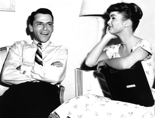 fuckyeahthevoice:  Frank Sinatra and Debbie Reynolds on the set of The Tender Trap, 1955