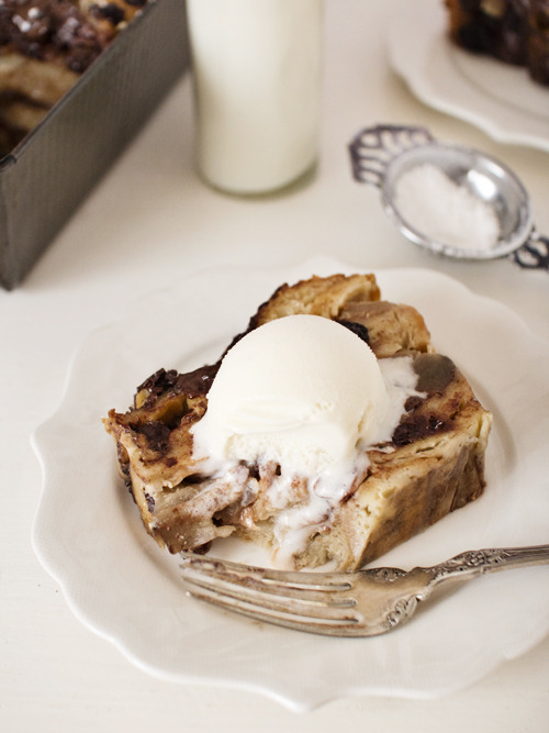 earl grey, apple, and chocolate bread pudding.