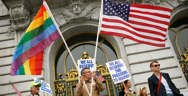 "What Straight Allies Need to Understand About Gay Marriage and States' Rights  Too many people whose marriages are not up for debate have been griping that President Obama's announcement was too little, too late. He's endorsing federalism, argued Adam Serwer in Mother Jones. He's championing state's rights, complained left-of-center blogger Digby: ""This is the essence of retrograde, reactionary politics and there's a long history of these 'sovereign' states exercising their 'rights' to deny minorities their freedom."" Even House Assistant Minority Leader Jim Clyburn was upset with the president's approach. ""I depart from the president on the state-by-state approach. If you consider this to be a civil right, and I do, I don't think civil rights ought to be left up to a state-by-state approach,"" he said Monday. Such critics of Obama are wrong. They are wrong about what the administration has done and said, wrong on the politics of gay marriage, and — most important — they are wrong on the law. Read more. [Image: Reuters]"