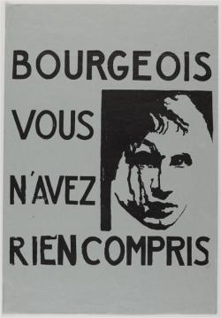 """Bourgeoisie you have understood nothing."" A poster made during the May 1968 student riots in Paris. Before WWII, higher education had been only for Europe's wealthier classes, but in the postwar era there was greater equality in higher education, and a whole host of middle-class kids—baby boomers— were now able to get a university education. Reducing and eliminating tuition, government subsidies, and scholarships also helped bring about higher enrollments.And enrollments did grow dramatically as a result of these new policies; in France, for example, 4.5% of youth attended university in 1950, but this number jumped to 14.5% in 1965. The May 1968 student riots began with middle-class youth (they were later joined by the working class, who went on strike, almost crippling the French economy). The generation that revolted in the '68 riots were relatively affluent and had been the targets of mass advertising and consumerism. Popular culture was primarily consumed by the middle classes and reflected middle-class interests. The products of postwar popular culture—music, television, films, Coca-Cola— were advertised as lifestyle choices; buying and consuming such products not only communicated to the outside world the socio-economic privileges that you enjoyed, but also were indicative of who you were as a person. The '68 riots was, in effect, a bourgeois response to bourgeois consumerism. Students demanded a greater voice in administration of their universities in May '68; they took over buildings, invited industrial workers to support them, and were keen on starting a revolution. As these protests spread all over Europe and abroad to America (most notably at Columbia University), it became clear that the students were protesting against the authoritarian nature of university administrations and harbored anti-war, anti-imperialist attitudes. Most striking, however, was that these movements were really about the narcotic of mass consumerism— the fundamental rejection of bourgeois values that had become increasingly identified with the ownership of products that were massively produced, advertised, and consumed in the postwar era."