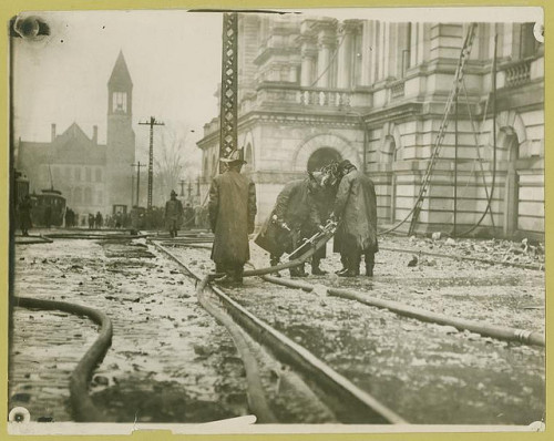 Water fails the firemen at critical moment by New York Public Library on Flickr.Look at the photo. Consider what has has just happened here, or what is about to happen here. Who has been here? Who will come here and and what will they do? What kinds of interactions can you imagine? Write one leaf about these or other things that occur to you upon looking at the picture. Do not allow yourself to be limited by what you see. Go.| Write One Leaf + about + ask + random + facebook + twitter | sponsors + You Are a Dog [ Kindle | Google | iBookstore ]