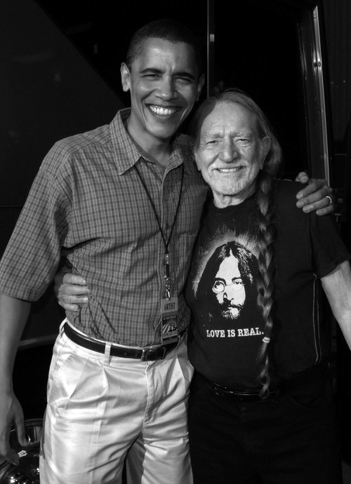 Willie Nelson and Barack Obama