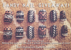 We love every single follower and heart-er of Fansy Nails and wanted to give you something back! Reblog for a chance at a free set of fansy tribals!