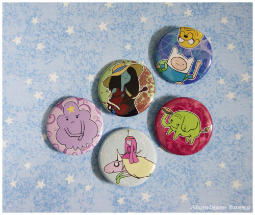 Yay, Adventure Time! I turned my illustrations into pin-back buttons and now they are available in my Etsy shop.