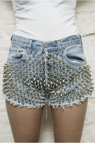 Spike denim shorts