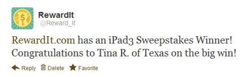 A HUGE congrats to our friend Tina R. from Texas for winning our iPad 3 Giveaway! And due to the overwhelming response, we're giving away another one RIGHT NOW! Check it out ——> Win an iPad 3!