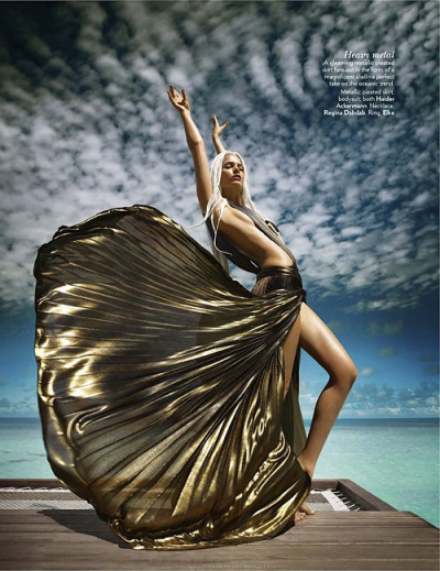 thezoereport:  Viva metallics! modelinia:  Warrior! Jessiann Gravel-Beland for Vogue India