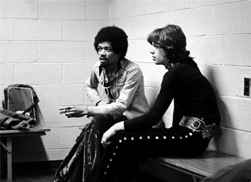 noheat:  Jimi Hendrix hanging out with Mick Jagger.