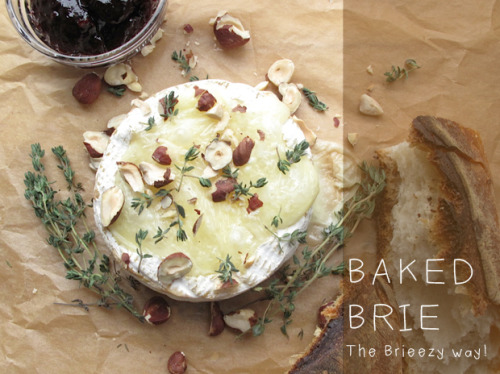 DIY Easy Baked Brie With Hazelnuts Tutorial. Can you cut the top off of a round of brie? Then you (and I) can make this. Tutorial from Justina Blakeney here.