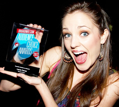 lauraosnesfansite:  Laura Osnes with her Broadway.com Award; photo by Bruce Glikas.