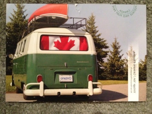 O Canada! The first international postcard, via @norahringma, who lives in our great neighbor to the North. She writes:  Greetings from Canada! After 28 years of going out to work, I now work from home. As great as that sounds, it has its drawbacks, the largest being isolation. Instead of office mates, I now have a Twitter feed. Over time, I have developed favourites. At the head of the pack are you, @nprfreshair and its Tumblr. Thanks so much for keeping me company. Good luck with your postcard project! @NorahRingma  Thanks Norah! I'm glad I can keep you company during the workday. I now picture everyone in Canada driving around in patriotic camper vehicles on their way to a great kayaking adventure. If you're ever in Philadelphia — with kayak or not — please feel free to say hi! In person, where we can talk more than 140 characters at a time.