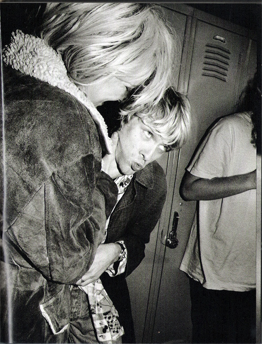 "pretty-ontheinside:  Courtney and Kurt photographed by Charles Peterson. Scanned from the ""Touch Me Im Sick"" book."
