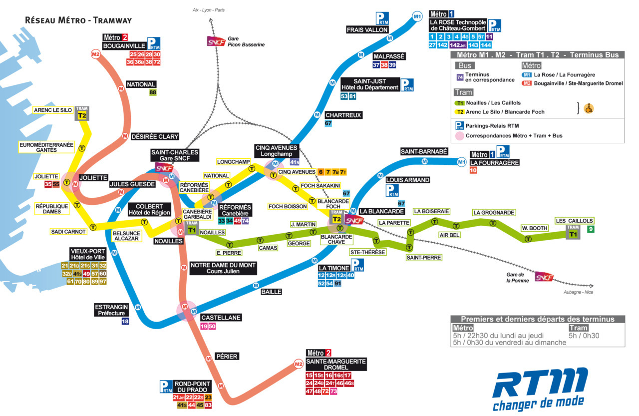 Official Map: Metro and Tramway, Marseille, France Not every transit map conforms to the Beck-inspired 45-degree angles norm. Many of these maps choose instead to be more geographically accurate, but some - such as this example from Marseille, France - veer towards the surreal, with routes careening crazily all over the place with little sense of aesthetics or clarity. Have we been there? I spent half an hour at Marseille St. Charles waiting for a train to Nice, but haven't ventured out into the city. What we like: Not a lot. What we don't like: Just about everything. Let's start with the appalling agency logo and move on from there. The route lines are terribly drawn, without any sense of flow or order at all - they almost seem scribbled on by someone who has no idea how the pen tool in Adobe Illustrator works. This map could be elegant if the curves in the routes were drawn properly and accentuated as a thoughtful part of the design, but as they are, the whole thing is just a mess. I also can't see why the Metro 2 Line is tinted back to pink instead of being red - all the other lines retain the full strength of their assigned colour, so why not this line? Interchange stations are clumsily noted by a pink circle instead of the more usual linked circles or bars - full marks for trying something different, but I feel it doesn't work very well and just adds visual clutter. Finally, although station names, park and rides, and bus route numbers are all nicely boxed up, they never seem to combine into a coherent unit: sizes of elements don't relate to each other, so stations like Bougainville and La Rose - which have a lot of connecting bus services - just look a complete mess. Our rating: Bizarre and  ugly. 1 star.  (Source: Official RTM website)