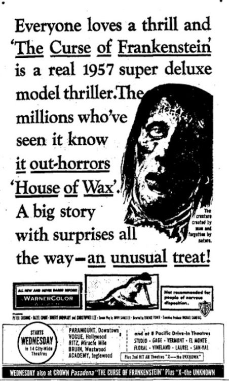 Ad for Hammer's The Curse Of Frankenstein (1957)