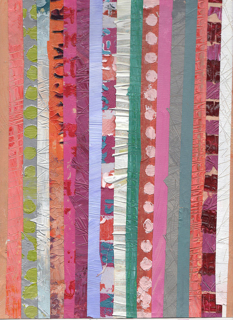 This is masking tape that has been collaged after being used to paint a canvas 12 x 9