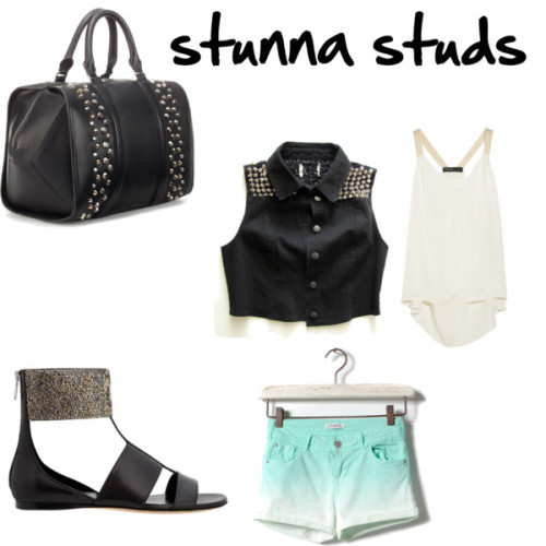 stunna studs by magbabe featuring a studded bagElizabeth and James satin top, $295Shorts, €20Alejandro Ingelmo ankle strap sandals, $1,065Zara studded bag, $90