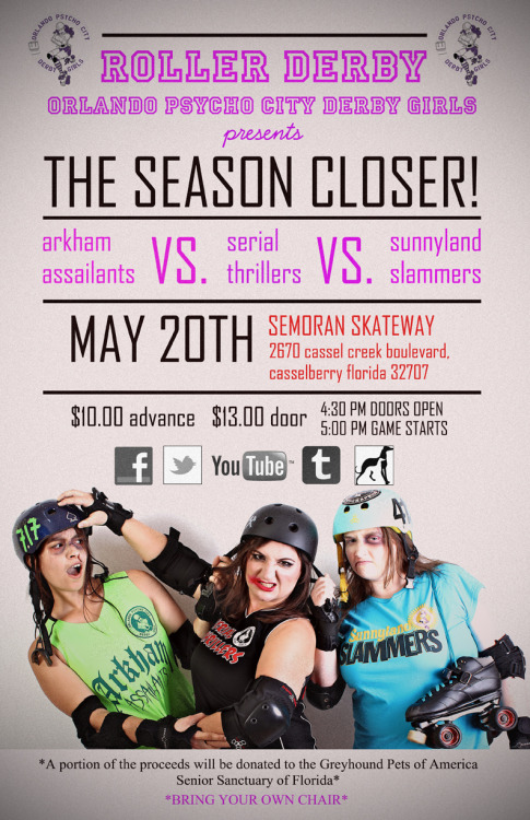 psychocityderbygirls:  Sunday! Your last chance to see an OSDA bout! Next season we will be playing under the WFTDA rule set!