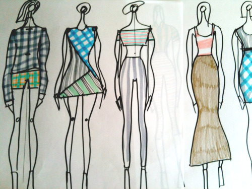 some pattern practice for my fashion illo course. middle girl with crop top inspired by jena, as she was sitting next to me wearing red and blue stripes