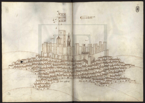 mediumaevum:  The Book of Fortresses was made in the early 16th century by Duarte de Armas, esquire of King Manuel I of Portugal. It depicts Portuguese fortresses located near the border with the (then) kingdom of Castile — and the Royal Palace in Sintra. You can view the entire book (fully zoom-able) here No need to credit depalaeographia ;)