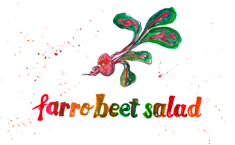 Farro, Beets and Beet Greens! Farro is a hearty, chewy grain kind of like wheatberries.  Instead of throwing those beet greens out, chop them finely and add them in- they are kind of like kale. Dress lightly with olive oil, salt and pepper (or any dressing, really) and eat warm or at room temperature. This dish is great for a picnic! Photos and illustration by Erin Gleeson for The Forest Feast