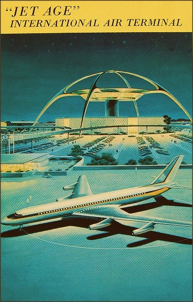 1950sunlimited:   postcard of LAX (los angeles international airport) c.1961