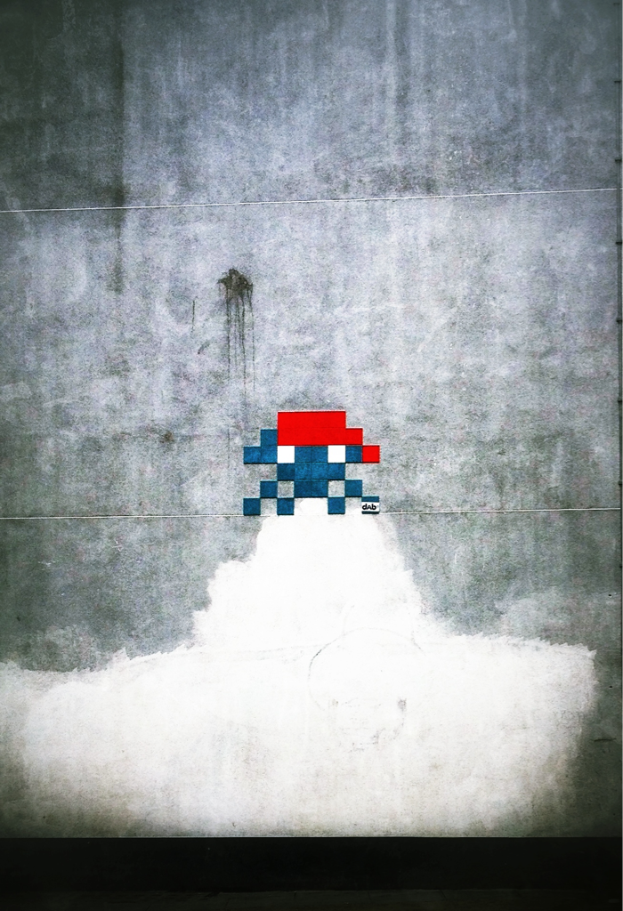 """8 bit Invader"" (street art by dab,West Central street)"