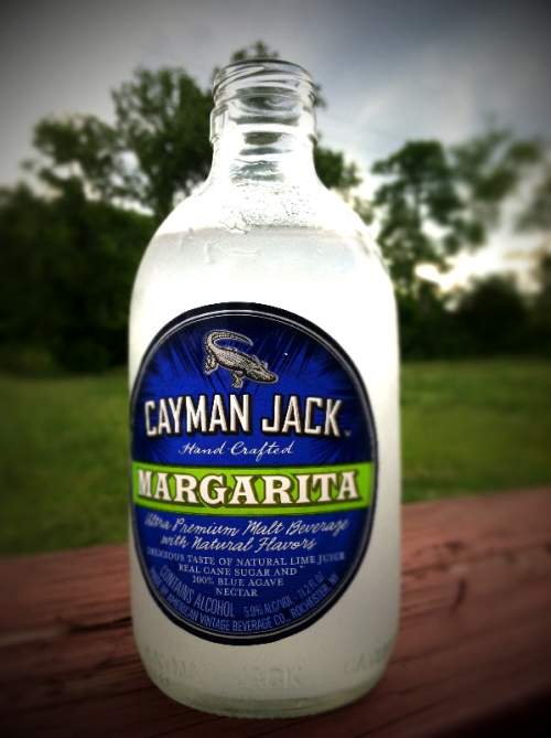 The first bottle from my Mix Pack Six Pack. Cayman Jack Margarita malt.  It has a good lime and salt flavor, and is more sweet than tart. The cane sugar is fairly overpowering, but it is still good.  I think I would prefer an actual margarita, but this is a nice, pre-made substitute.