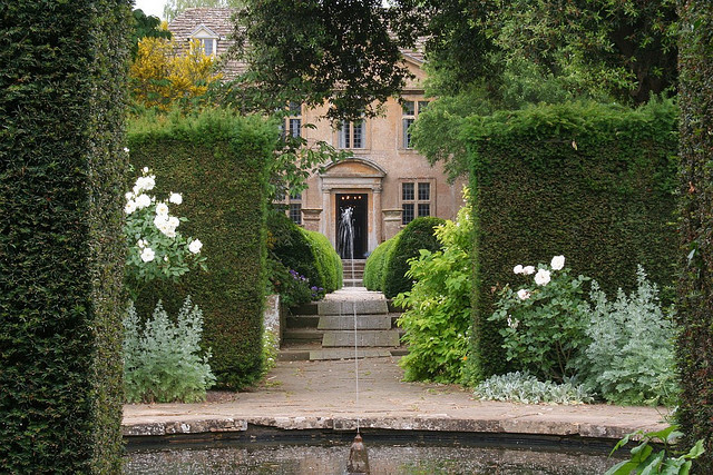"Garden |Tintinhull House is built from local Ham Hill stone and the entrance-front, seen in part here, was completed in 1722. From the Drawing Room doorway the main axis of the garden leads through 2 other ""rooms"" to the Fountain Garden. Here a small pool is surrounded by clipped yew hedges which form the background for a formal scheme of white flowered plants"