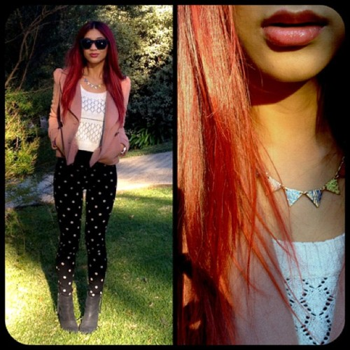 Outfit of the day #fashion #winter #red #hair #polkadot #spot #boots #bunting #forvernew (Taken with instagram)