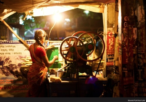 Sugarcane juice vendor in Hyderabad, India.