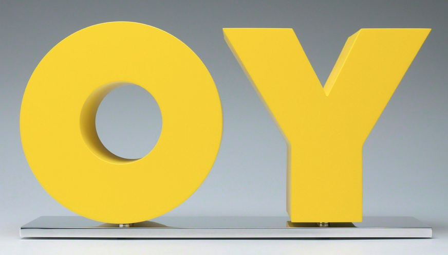 "OY/YO (2011) - Deborah Kass From www.art.sy: ""Toeing the line between respectful homage and brazen appropriation, Deborah Kass mimics and reworks the signature styles of some of the 20th century's most iconic male artists—including Frank Stella, Andy Warhol, Jackson Pollock, and Ed Ruscha—in her bold, meticulous paintings. ""They're my daddies,"" she has said, in witty acknowledgment of her indebtedness to her male antecedents. Kass's alterations of their work in her own paintings are both bitingly funny formal interventions and keenly critical commentary on the historically dominant position of male artists. Feminism is central to her approach. As she explains: ""It is about my desire to be part of what they're a part of. […] I think the desire was ambition and greatness. For women of my age, it was still not very cool to be overtly ambitious."""""