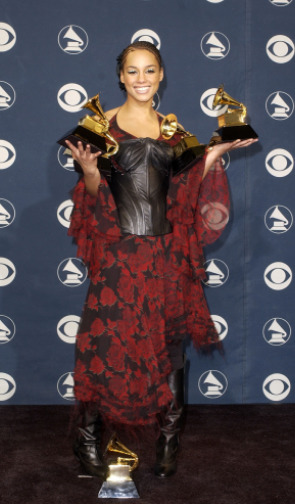 FLASHBACK: Alicia Keys at the 44th Annual GRAMMY Awards in 2002 winning Best New Artist, Song Of The Year [Fallin'], Best Female R&B Vocal Performance [Fallin'], Best R&B Song [Fallin'], and Best R&B Album [Songs In A Minor]