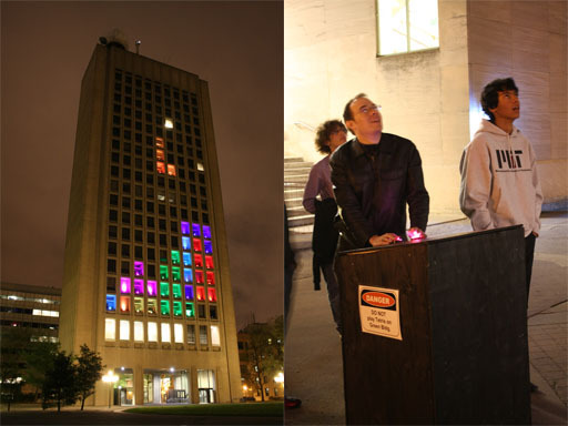 On April 20, hackers at MIT transformed the Green Building, which is home to MIT Planetary Earth and Sciences Department, into a giant sized game of Tetris.