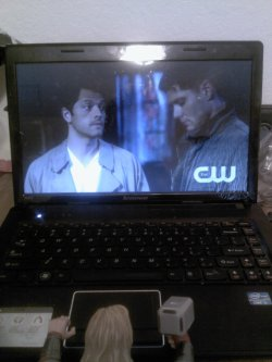 And of course, he's catching up on some missed Supernatural.