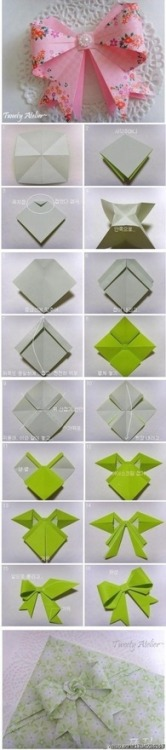 Cute origami bows. leviathancrafts:  OOOOOHHHHHH Goodness! I can't! They're too cute!!! -Via