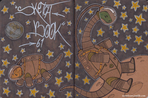 fuckyeahmoleskines:  The cover of my 61st sketchbook! Dinos in spaaaaace!!! For more of my sketchbooks, visit tooiedraws.tumblr.com