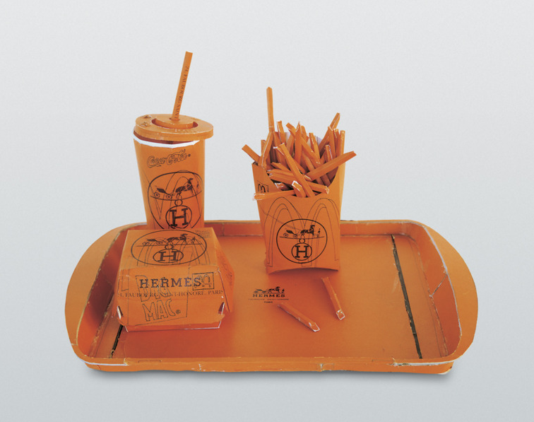 Hermés Value Meal (1997) - Tom Sachs Cardboard, thermal adhesive. Check out his studio and process via Selby here.