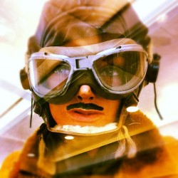 #Atlanta #goggles #lady #moustache #pilot (Taken with instagram)
