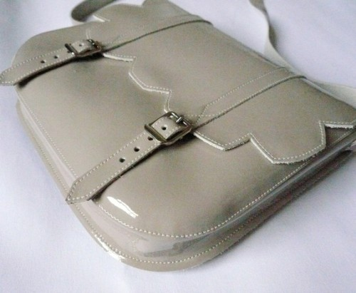 gray patent leather scallop satchel by frenchenglish