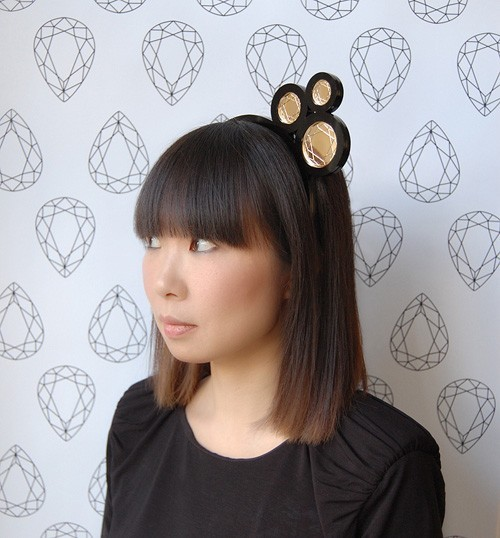 triple bubble gold mirror headband/necklace by jenniferloisellle