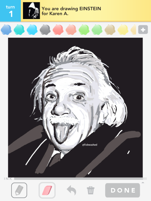 fobwashed:  Einstein is a funny guy. Ran outta ink before I could properly draw a body… or detail much -_-;;