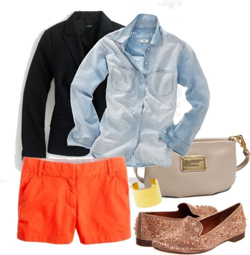 Chambray and Tangerine shorts by icey0701 featuring a chambray shirt