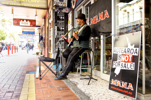 Aotearoa is not for sale… Busker, Cuba Mall, Wellington, New Zealand