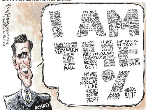 "romneycomics:  Slightly different from the ""Mitt's Own Words"" he's pushing himself, huh? Comic credit Nick Anderson / Houston Chronicle."