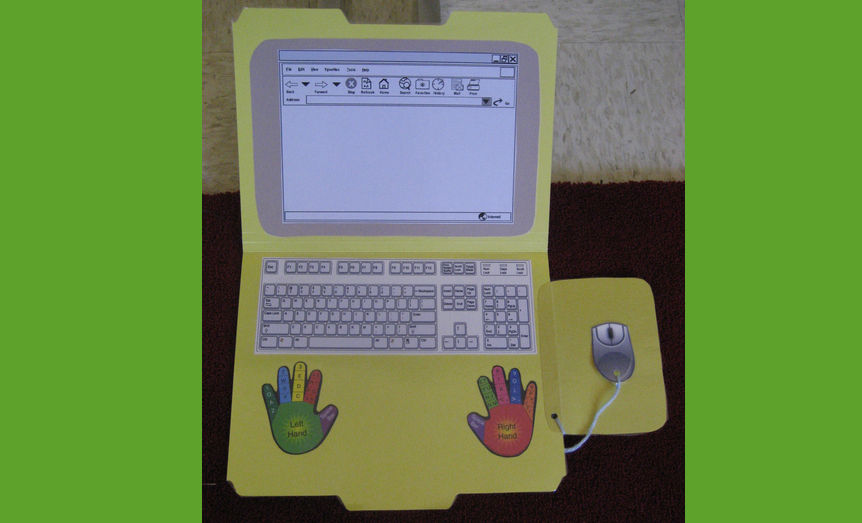 "Nice find! Templates to create your own ""File Folder Laptop"". (free) #elemchat #spedchat #laptop #2ndchat  #1stchat I think you could also enlarge these printables to use for bulletin boards.  Students could easily decorate/personalize these. Love the labeling of the hands! Included in  Classroom Printables and   Bulletin Boards, Displays, and Decorations You may also like… Computer Kids: Eat My Bytes How to Make a 2 Computer Classroom Work for You Mini eLearning Courses"